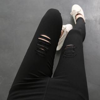 春夏韩版破洞仿牛仔女裤外穿薄款高腰弹力紧身打底裤九分小脚长裤