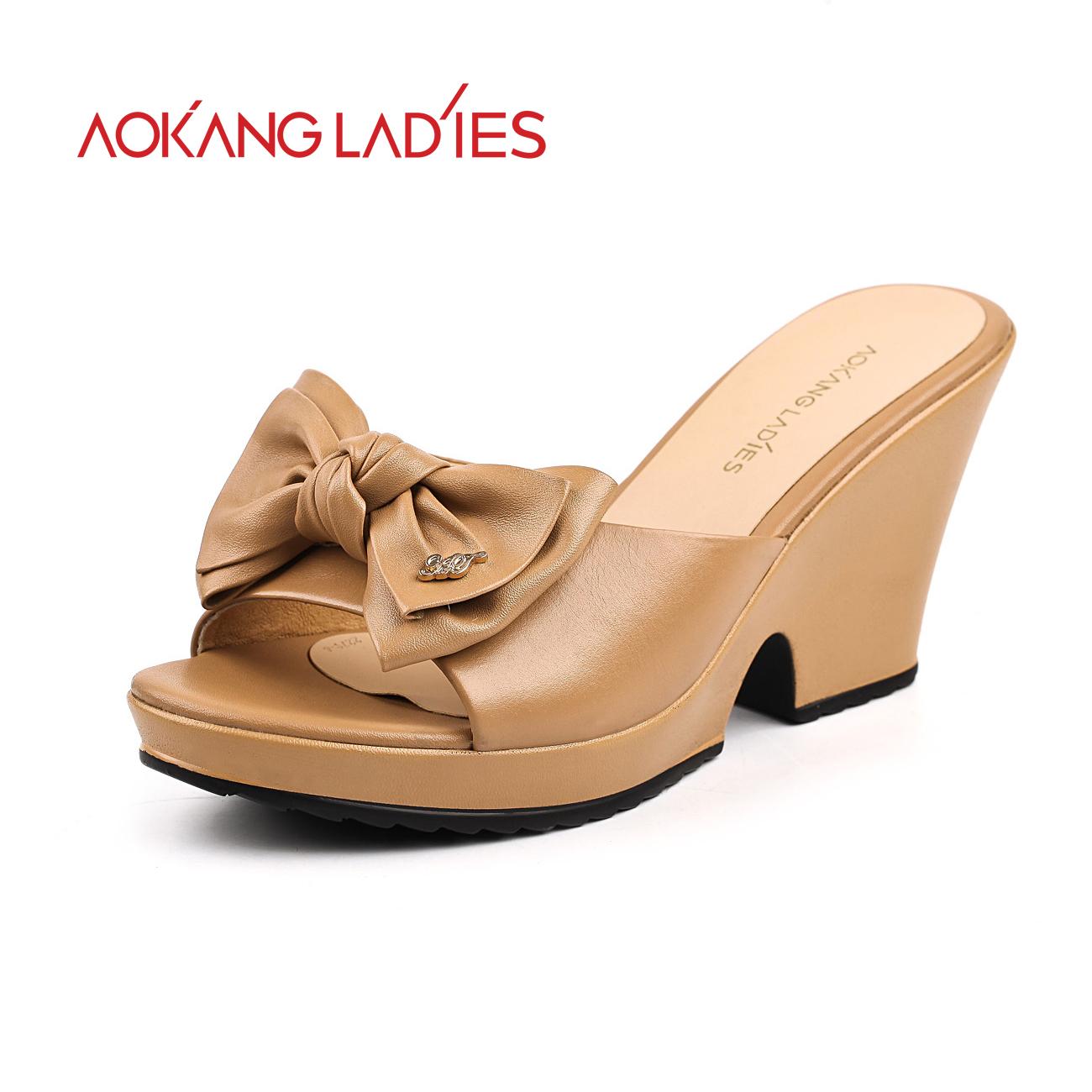 奥康女鞋 新款坡跟女凉拖鞋 真皮浪漫鱼嘴蝴蝶结女拖鞋027