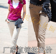 2013 new pants spring and summer Korean version of casual thin pleated pant shorts straight jeans to send chiffon belt