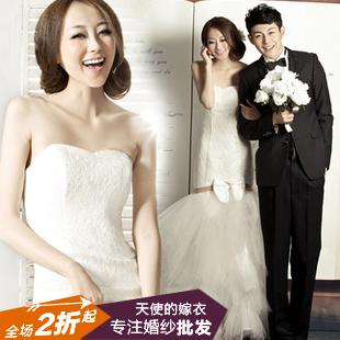 法国蕾丝 韩式宫廷韩版修身收腰鱼尾公主婚纱礼服 2013新款2570