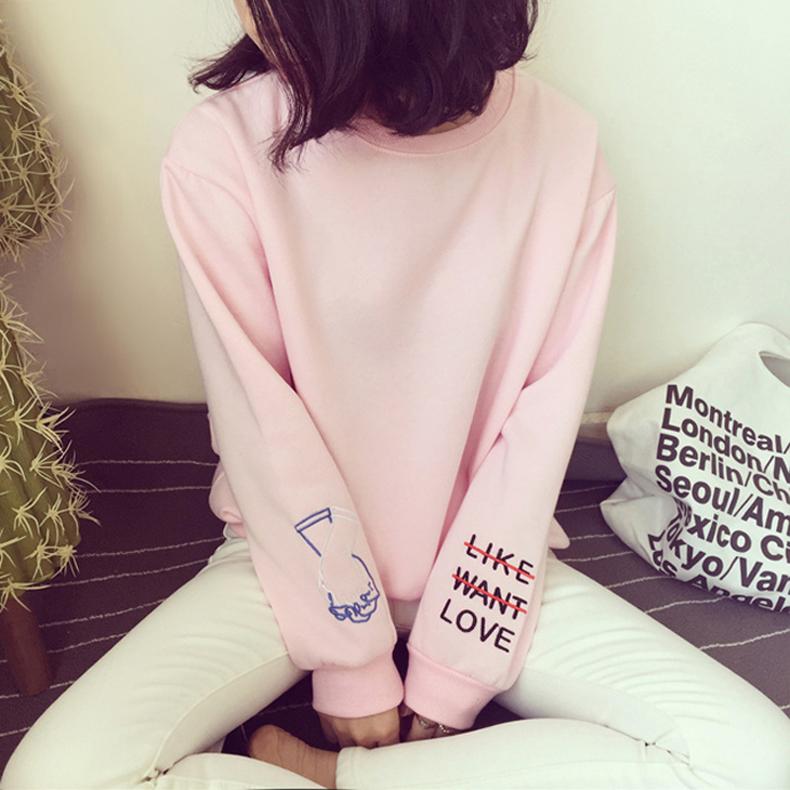 韩版潮学生宽松加绒外套上衣2016秋冬新款女装长袖刺绣套头卫衣女