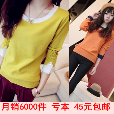 包邮 2013 spring new Korean generous mixed colors simple Hepburn wind female temperament make long-sleeve knit shirt shirts