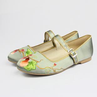 葫芦手绣真丝缎平底时装鞋