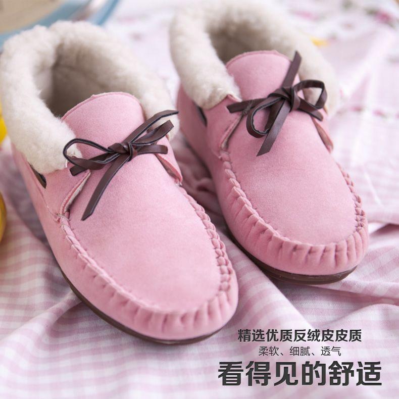 2013新款冬季韩版潮简约纯色休闲平底保暖低帮女鞋棉鞋豆豆女鞋子