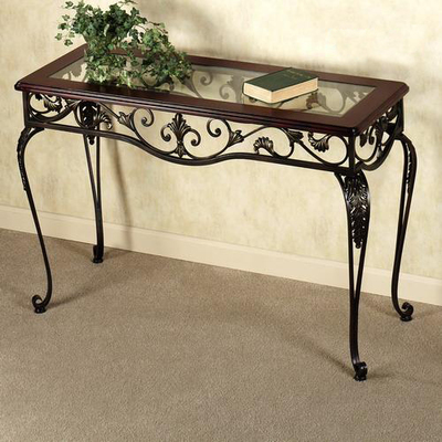 Europe and Europe-style wrought iron table seven exquisite coffee table side tables Console Tables vintage wood desk without glass