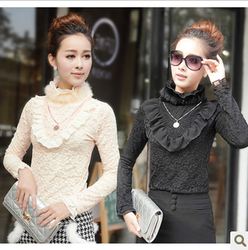Rabbit thick lace high-necked long sleeve Korean style big size