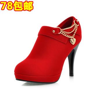 2013新款包邮欧美女 结婚季秋冬季皮鞋细跟鞋单鞋女士高跟鞋防水台结婚鞋