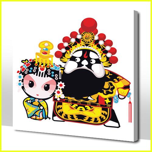 快乐工坊 diy 数字油画 卡通 霸王别姬 数码画 diy手绘丙烯棉布