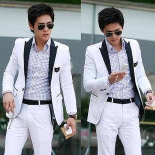 2013年男士西装韩版型男绅士修身时尚简约撞色 黑白拼色 白色西服