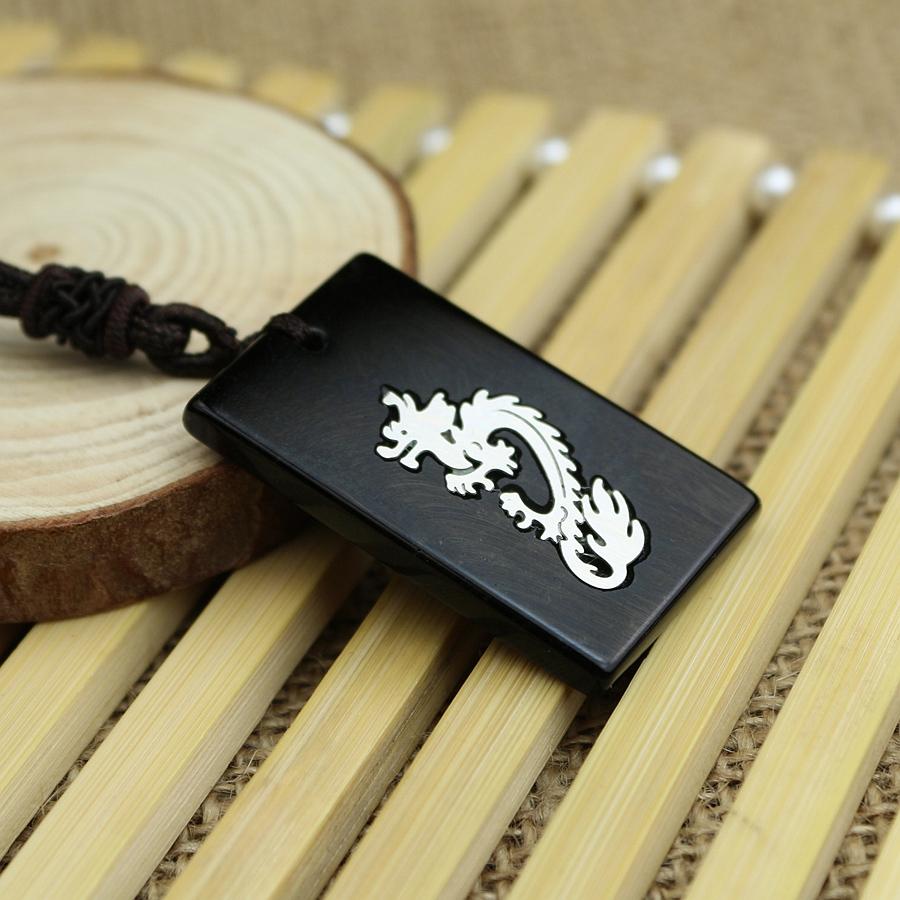 Подвеска Природные обсидиана каменный дракон кулон ожерелье длинные ювелирные изделия для мужчин и женщин, Seiko титановые стали зодиака Мозаика Медальон аутентичные