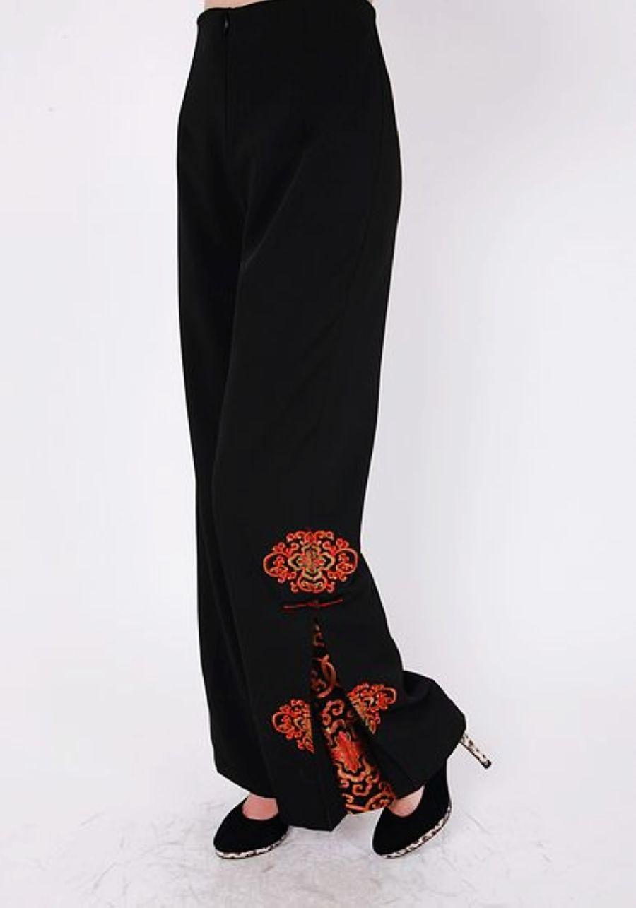 Национальные китайские брюки Женщин в траурные одежды вышивка брюки брюки старых китайских народов 14 черные брюки брюки Весна Джокер