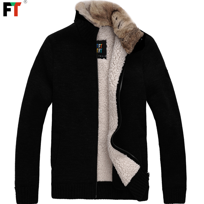 FT 2012 men's Cashmere Wool collar rabbit fur collar leisure-winter padded coat/jacket/coat men
