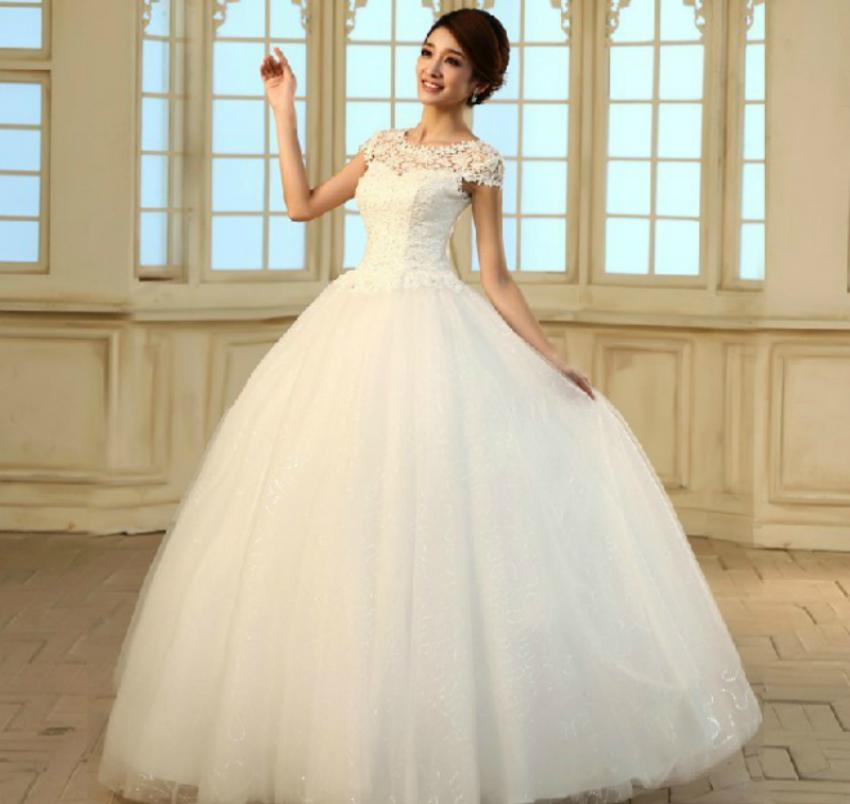 韩版式包肩婚纱礼服  结婚季新款2013镂空蕾丝韩版一字肩公主复古绑带款