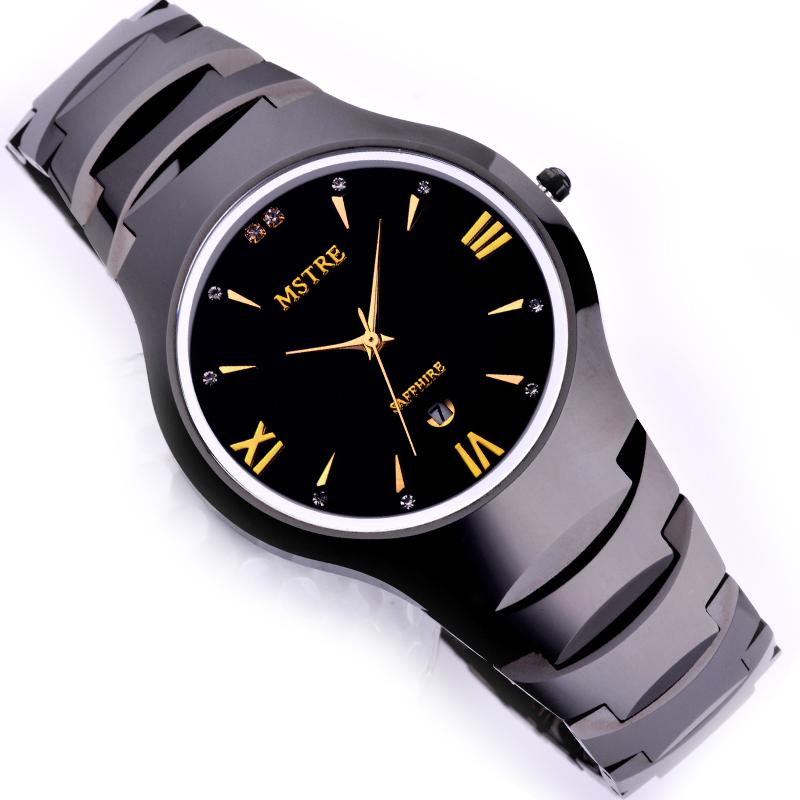 瑞士正品mstre男士 手表钨钢表 条钉罗马钻面商务男表 防水表手表