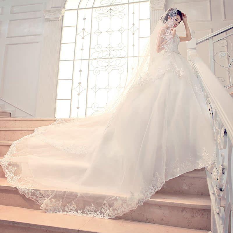 韩式公主新娘甜美韩版抹胸蕾丝绑带拖尾婚纱礼服2013最新款HS6290