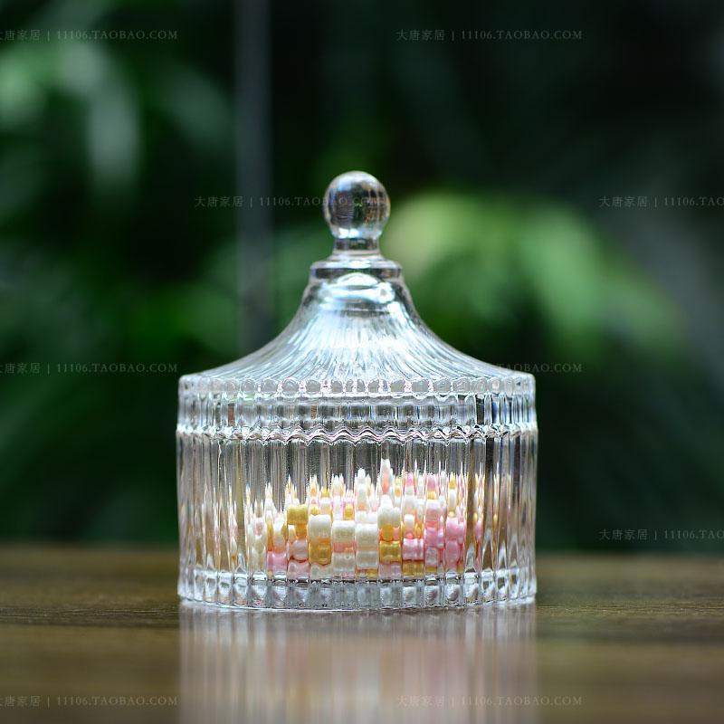 简约玻璃罐 玻璃首饰盒 现代储物罐透明水晶糖果罐创意居家调味罐