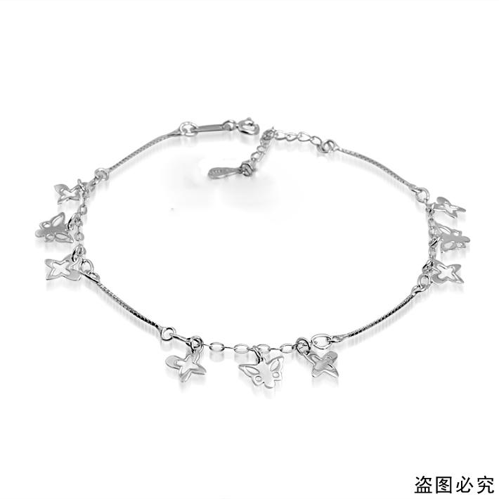 纯翠珠宝 s925银 镀金 镂空坠 蝴蝶飞舞 素银脚链 自然昆虫系列