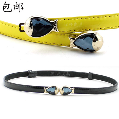 Goldfish buckle candy colored patent leather ladies leather thin belt Korean wild fashion fine decorative belt female models