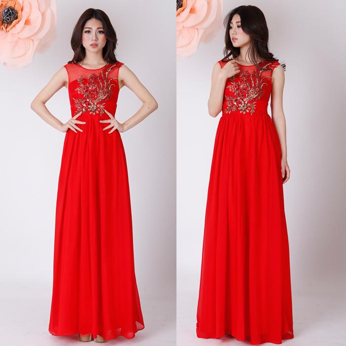 2013 新款新娘结婚礼服 敬酒服 红色一字肩甜美花朵蕾丝长礼服