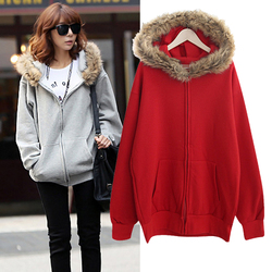 Double Ten korean style long sleeve hoodie thick fur collar coat