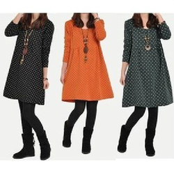 Korean style big size thick loose stitching dot dress Polka Dot Long