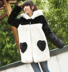 College cute panda hooded coat fur coat