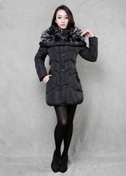 Slim Korean style jacket coat thick cotton oversized fur collar down jacket