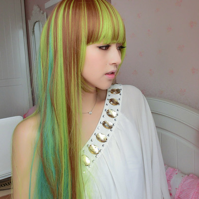 Iraqi girl wig straight hair dyed a color gradient colorful magazine fashion long straight hair wig high temperature wire