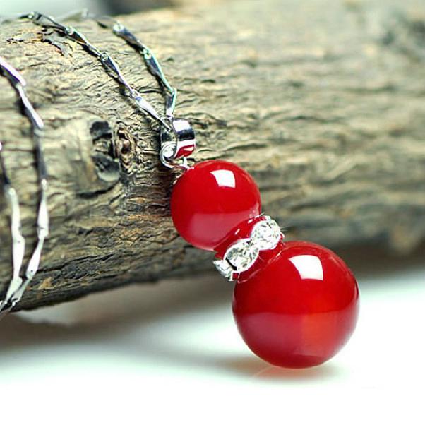 【九块邮独享】天然复古红玛瑙葫芦项链红玛瑙吊坠简约时尚女款