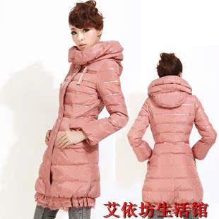 2012新款艾莱依人蕾丝花边修身女款加厚羽绒服韩版外套潮正品清仓