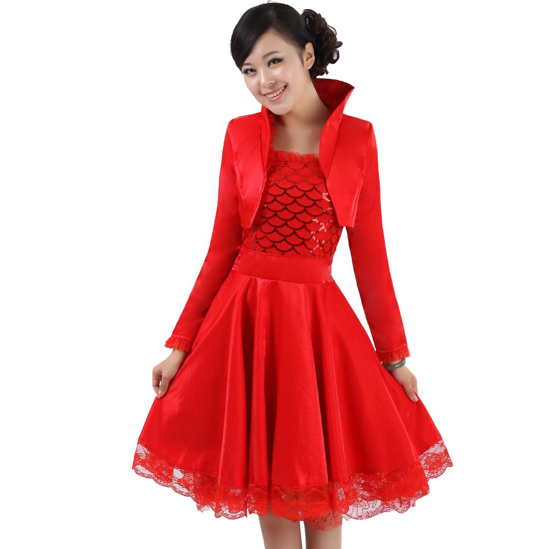 大码敬酒结婚礼服 旗袍连衣裙婚纱礼服 韩版新娘装红色敬酒服宴装
