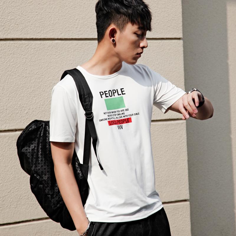 韩版修身圆领上衣男人的T恤英文字母潮T恤大学生休闲短袖不起球