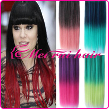 Double color gradient wig Piece of hair wigs A chip wig Five card color hair piece Long straight hair