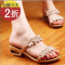 2013 the new  female slippers first layer of real leather diamond sweet flowers with sandals female