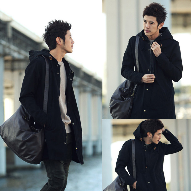 Joker spring windbreaker jacket men's webbing spoke Korean long slim fashion wash Hoodie men