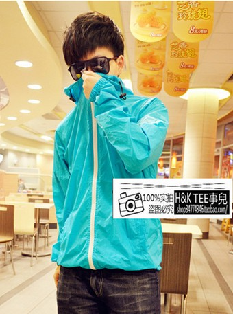 New Candy-colored fluorescent green hooded raincoat clothing leisure Korean couple thin coats for men and women rush windbreaker
