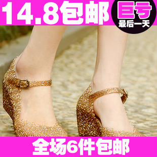 Flower cutout sandal 包邮 jelly shoes increased female summer wedges in the bird's nest beach slippers footwear