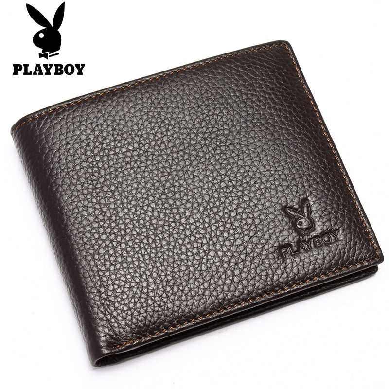 Poly-Playboy/PLAYBOY genuine leather men's leather wallets brown short wallet simplicity