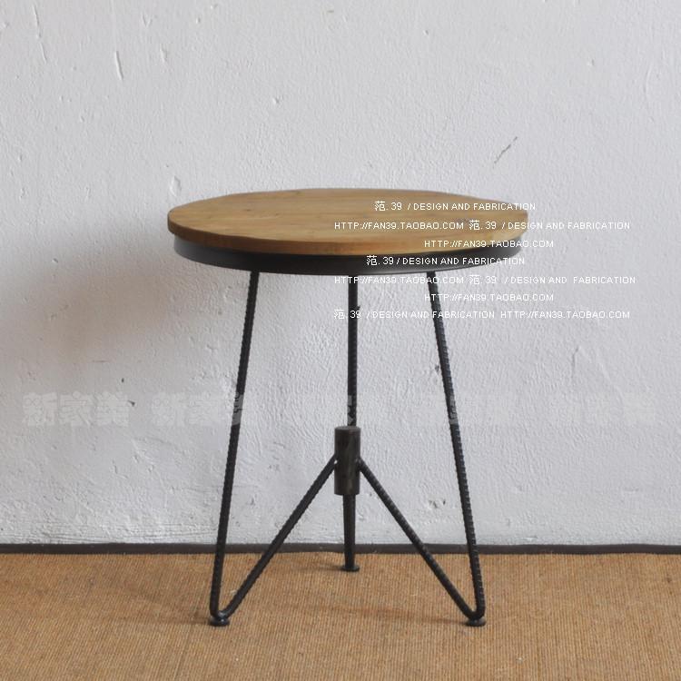 新家美 美式铁艺茶几复古做旧 咖啡桌 时尚铁艺小圆桌图片