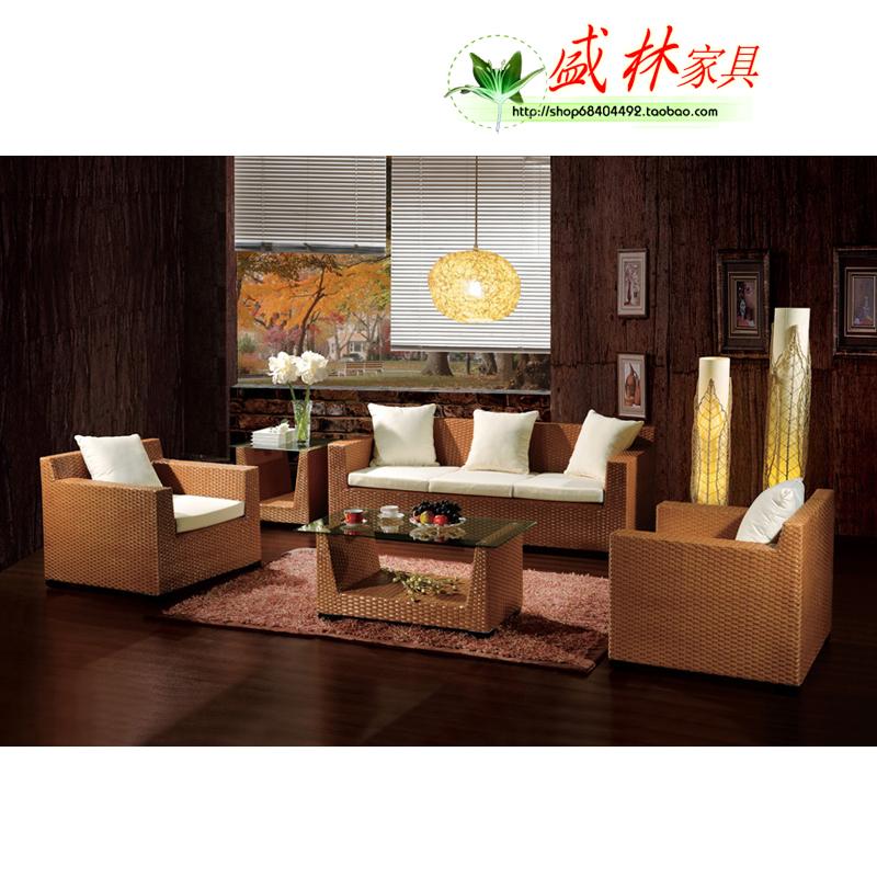 阳台真藤创意沙发组合客厅双人藤制沙发椅子藤家具特价促销66035
