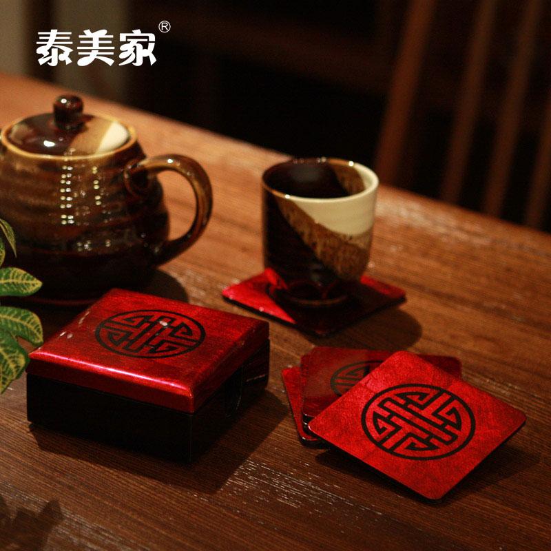 泰美家新奇创意 木制加厚隔热手工艺镶嵌杯垫 摆件日用品家居创意