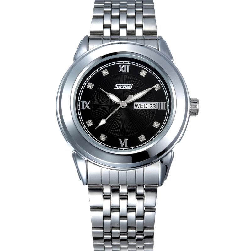 时刻美男士手表复古英伦风防水指针日历手表 商务石英表简约腕表