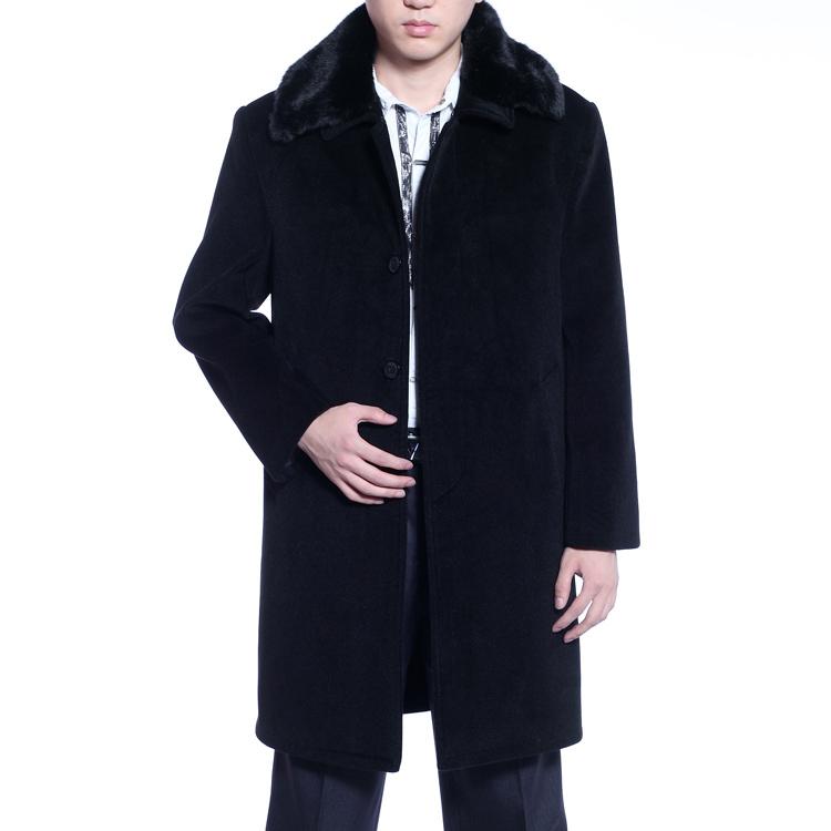 秋冬男装羊绒长大衣男式毛呢长大衣 中老年带毛领毛呢大衣爸爸装
