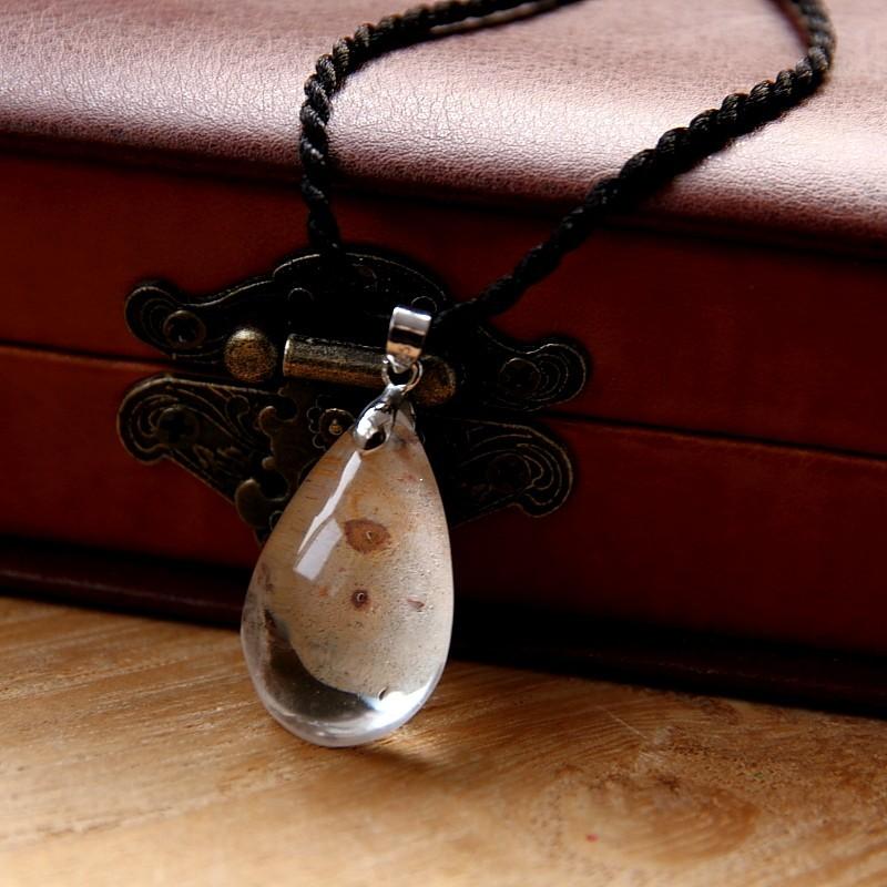 【千彩】纯天然异像幻影水晶水滴精巧锁骨链吊坠小晶石大自然礼物