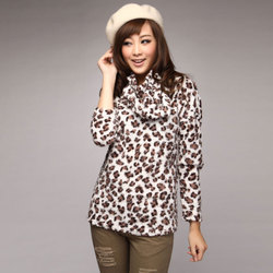 Slim Korean style scarf leopard fur collar pullovers