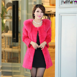 Ladies rabbit fur collar coat