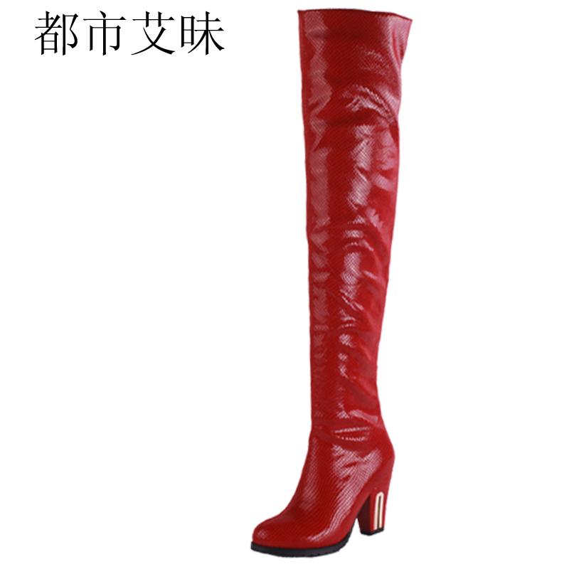 时尚 红色 高跟靴/都市艾昧潮流日韩时尚女靴长靴女限量版过膝靴子红色高跟靴 女