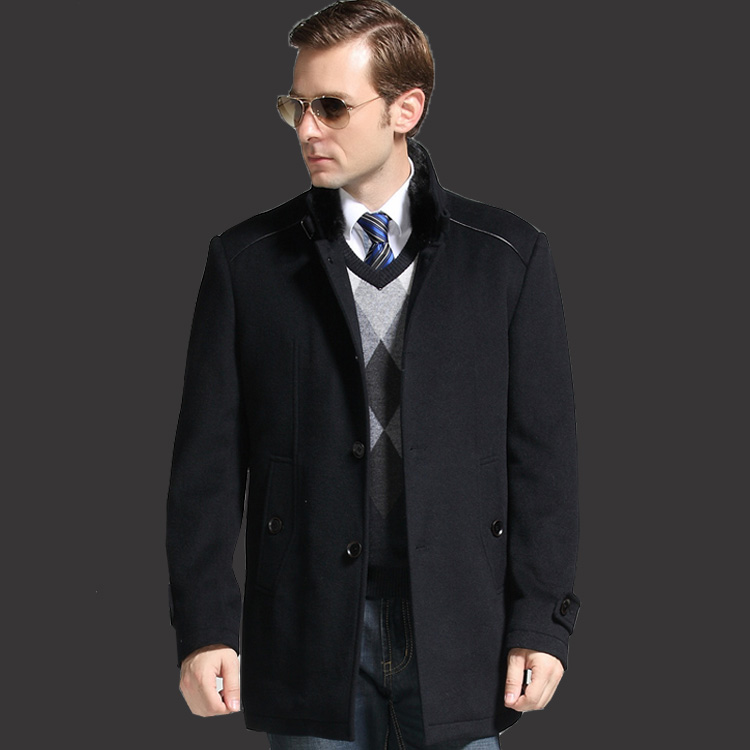 花花公子羊毛大衣水貂毛領男裝羊絨中長款呢子外套立領秋冬夢特嬌圖片