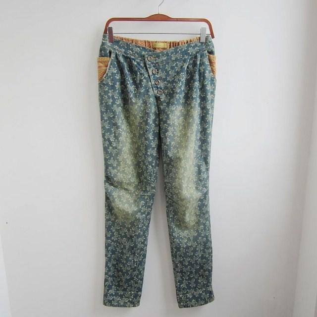 Джинсы женские Упругие талии и Подол белый цветочный хлопка, стирать джинсовые брюки ноги