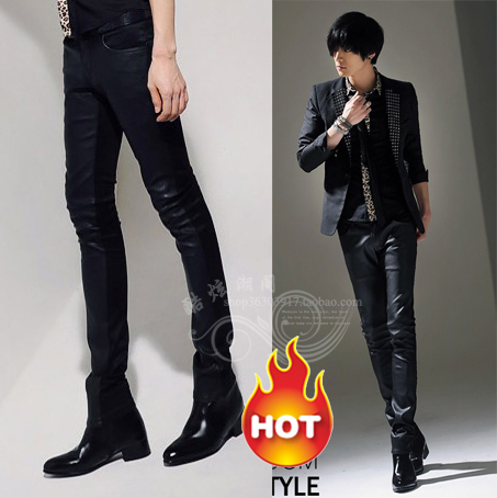 Spring/summer 2013 Korean non-mainstream fashion mosaic sportsman men's Club leather pants feet pants cowboy chaps